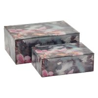 10 Inch Pink Floral Glass Box