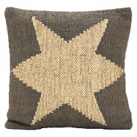 Two Tone Wool Jute Star Throw Pillow