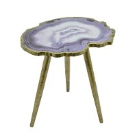 Purple Agate Top Wooden Decorative Accent Table