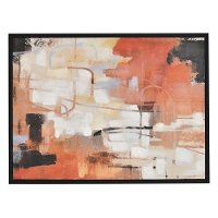 Coral Tones Abstract Oil Painting on Canvas with Frame