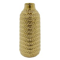 14 Inch Textured Gold Ceramic Vase