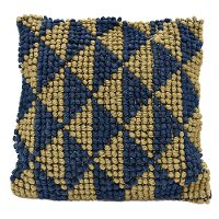 Blue and Tan Triangle Throw Pillow