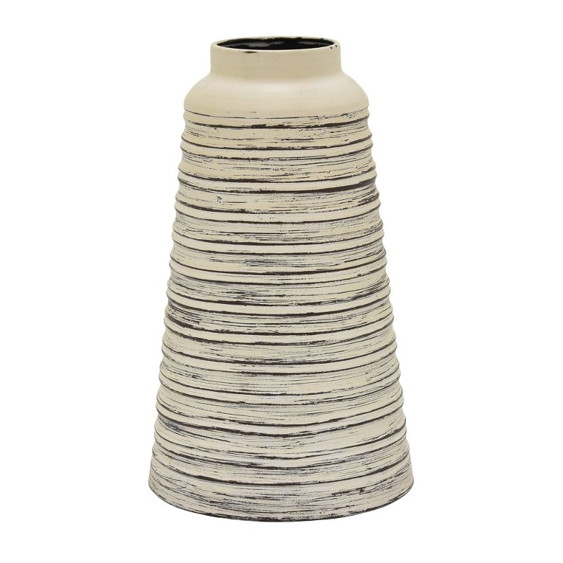12 inch distressed white metal vase rcwilley image1~800
