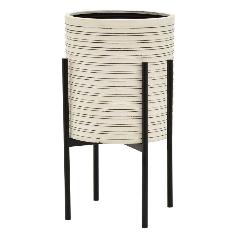 22 inch off white metal planter with black stand rcwilley image1~800