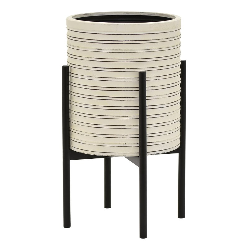 18 inch off white metal planter with black stand rcwilley image1~800