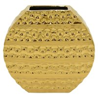 10 Inch Gold Oval Ceramic Vase