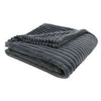 Gray Ribbed Ultra Soft Faux Fur Transitional Throw Blanket