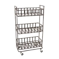 Rust Tone Metal 3 Basket Storage Rack On Wheels