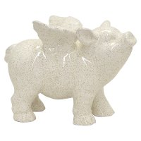 White Winged Ceramic Pig Table Top Sculpture