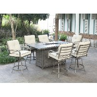 7 Piece Fire Pit Patio Dining Set - Alderbrook