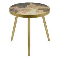 Wooden Decorative Accent Table with Blush Abstract Top