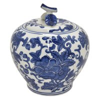 White Ceramic Jar with Blue Floral Pattern