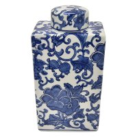 9 Inch White Ceramic Jar with Blue Floral Pattern