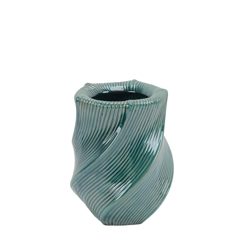 10 inch turquoise ceramic vase with wave pattern rcwilley image1~800