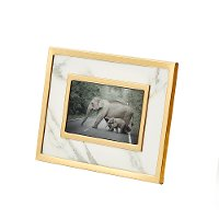White Marble-Look Photo Frame with Gold Detailing