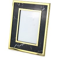 Black Marble-Look Photo Frame with Gold Detailing