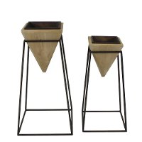 28 Inch Brown Wood Pyramid Planter On Metal Stand