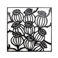 Black Metal Square of Flowers Wall Decor