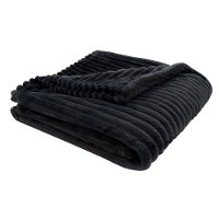 Black Ribbed Ultra Soft Faux Fur Transitional Throw Blanket