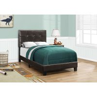 Contemporary Dark Brown Twin Upholstered Bed