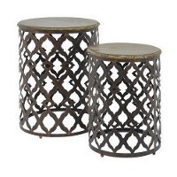 Metal Quatrefoil Round and Wooden Top Tables - Set of 2