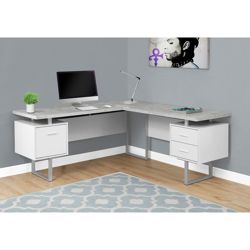 White and Cement Gray 60 Inch L-Shaped Computer Desk