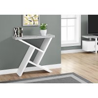 White and Cement Gray 36 Inch Accent Table