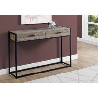 Dark Taupe and Black Metal 48 Inch Console Table