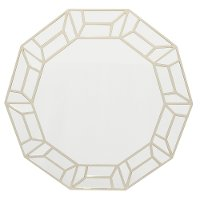 Champagne Wood Mirror with Geometric Pattern