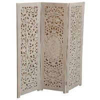 White 3 Panel Antique Screen
