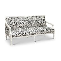 Blue Geometric Patterned Settee with Exposed Wood Frame - Jocelyn