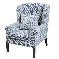 Blue and Cream Patterned Accent Chair - Walstead