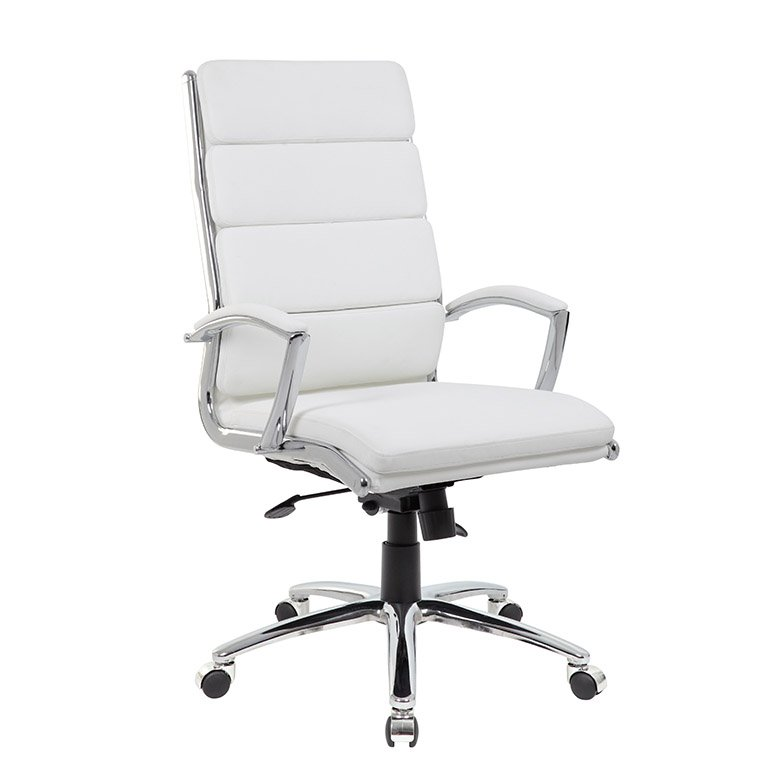 Modern White Office Chair with Padded Armrest