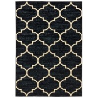 5 x 7 Medium Cream and Navy Blue Rug - Evandale