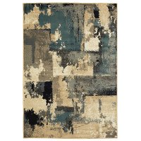 5 x 7 Medium Abstract Gray, Beige, and Navy Blue Rug - Evandale