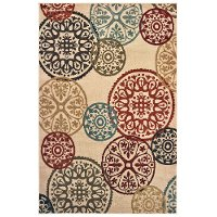 5 x 7 Medium Circle Red, Blue, and Green Area Rug - Laurel