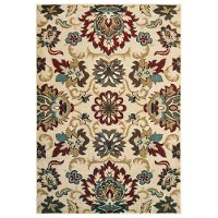 5 x 7 Medium Floral Red, Blue, and Green Area Rug - Laurel