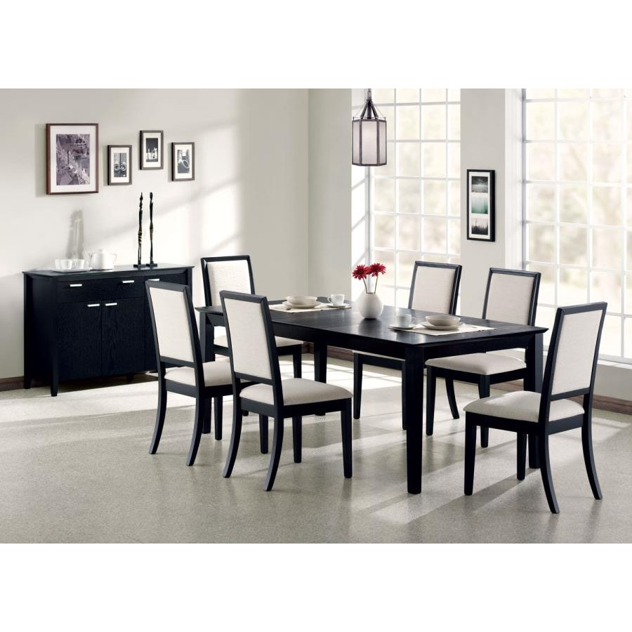 Modern Cream And Black Upholstered Dining Room Chair Set Of 2 Amelia