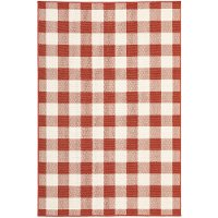 Plaid Red and Ivory Indoor-Outdoor 8 Foot Runner Rug - Marina
