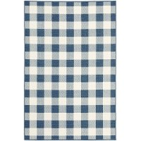 Plaid Blue and Ivory Indoor-Outdoor 8 Foot Runner Rug - Marina