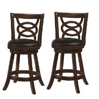 Traditional Brown 24 Inch Swivel Counter Height Stool (Set of 2) - Archer