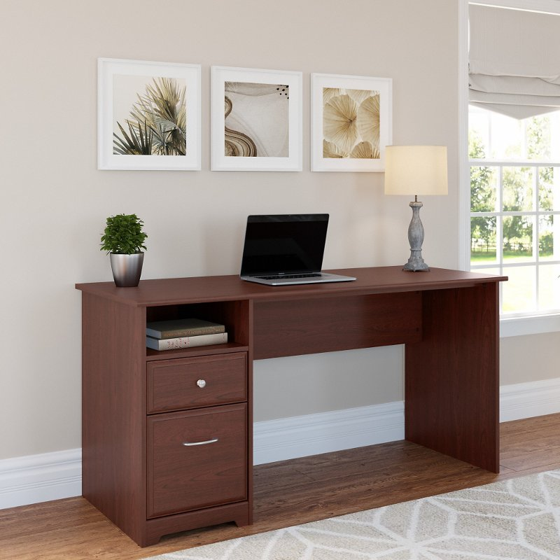Harvest Cherry Computer Desk with Drawers - Cabot
