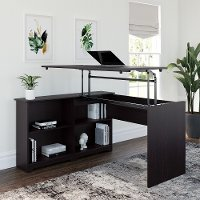 Espresso Oak 3 Position Sit to Stand Corner Bookshelf Desk - Cabot