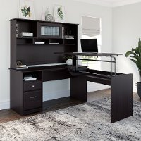 Espresso Oak L Shaped Sit to Stand Desk with Hutch - Cabot
