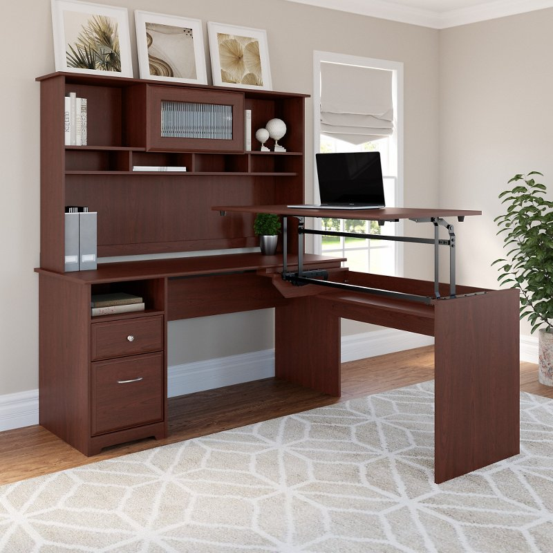 Harvest Cherry L Shaped Sit to Stand Desk with Hutch - Cabot