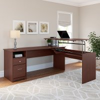 Harvest Cherry 3 Position L Shaped Sit to Stand Desk - Cabot