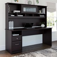 Espresso Oak Computer Desk with Hutch and Drawers - Cabot
