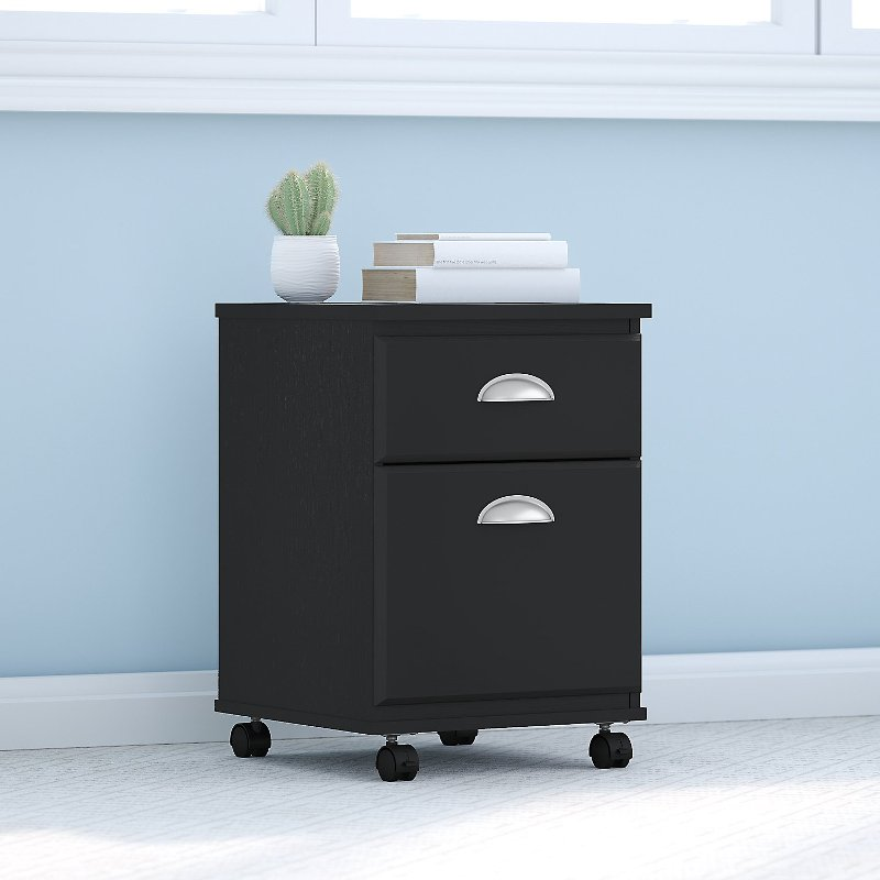 Kathy Ireland Black Suede 2 Drawer Mobile File Cabinet - Connecticut