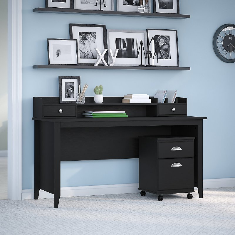 Kathy Ireland Writing Desk with Mobile File Cabinet and Desktop.