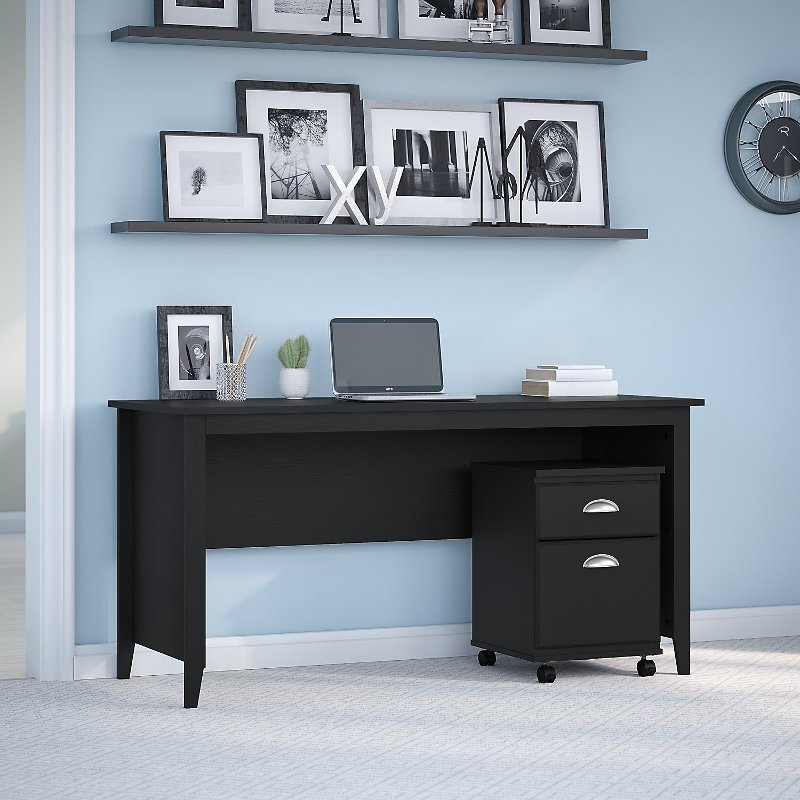 Kathy Ireland Black Suede Writing Desk with 2 Drawer Mobile File.